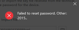 Failed to reset password. Other 2015..
